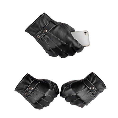 1 Set  1 Pair  Imperial Popular Hot Touch Screen Leather Warm Glove Motorcycle Decor Winter Season Wrist Girls Cover Color Black