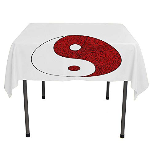 (Zentangle Summer Table Cloths Yin Yang Symbol Design Different Ornaments Harmony Sign Vermilion White Charcoal Grey Reusable Tablecloth Rectangle Tablecloth 60 by 84)