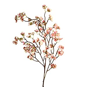 Quaanti Artificial Peach Blossom Branches Flowers Stems Cherry Plum Bouquet Branch Silk Flower,Artificial Flowers Fake Flower for Wedding Home Office Party Hotel Yard Decoration (D) 19