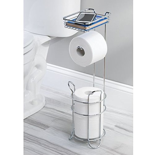 mDesign Toilet Paper Dispenser and Reserve with Storage Shel