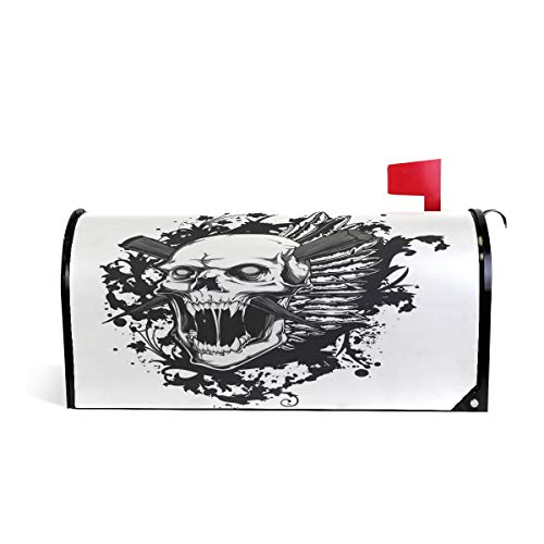 HEOEH Skull Scream Cross Bone Magnetic Mailbox Cover Home Garden Decorations Oversized 25.5 x 20.8 -