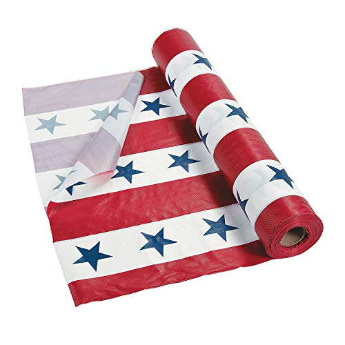Patriotic Tablecloth Roll for Fourth of July - Party Supplies (100 ft) -