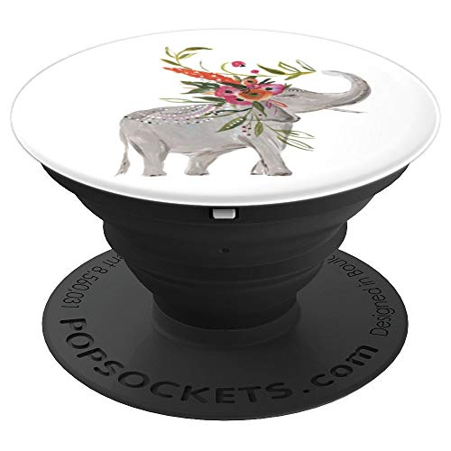 - Beautiful Elephant Walk Boho Floral Headdress Artwork - PopSockets Grip and Stand for Phones and Tablets