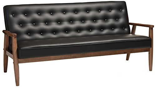 Baxton Studio Sorrento Mid-Century Retro Modern Faux Leather Upholstered Wooden 3-Seater Sofa, Black - Mid-Century Sofa Finishing: Dark Walnut Button-Tufting with Piping On The Edges of The Cushion - sofas-couches, living-room-furniture, living-room - 41WoUrA4 SL -
