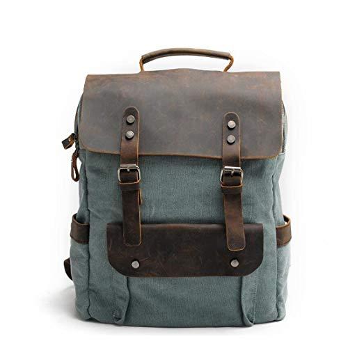 Lona De Bookbag Viaje College Mochila Hombre Grande Lake Satchel Vintage Daypack Green Brown Student Cvthfyky Cuero Para color t1H4ncAqnw