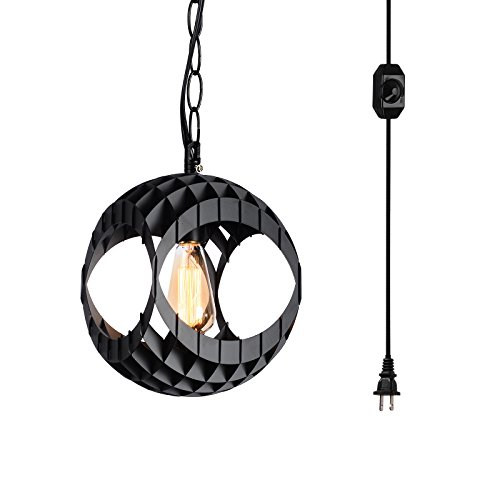 HMVPL Plug in Swag Pendant Light with 16.4 Ft Hanging Cord, Chain and in Line On/Off Dimmer Switch, Modern Ceiling Lamp with Black Paint ()