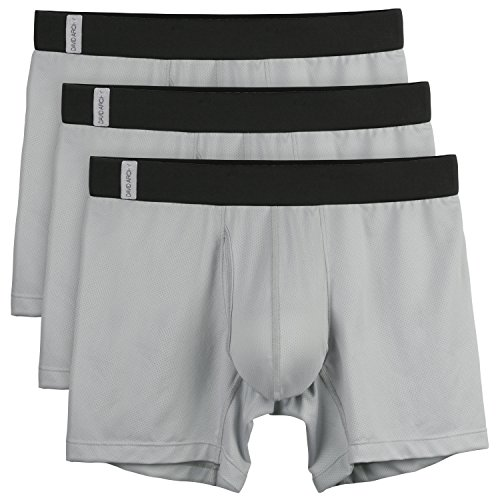 David Archy Men's 3 Pack Polyester Underwear Mesh Breathable Sportsmen's Boxer Briefs(S,Gray-3pcs With Fly)