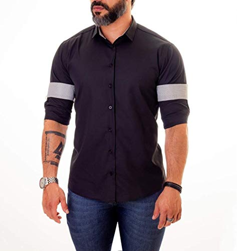 Camisa Social Masculina Slim Fit Infinity Preto (G)