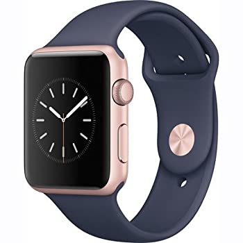 Apple Watch Series 1 42mm Smartwatch (Rose Gold Aluminum Case, Midnight Blue Sport Band) 0