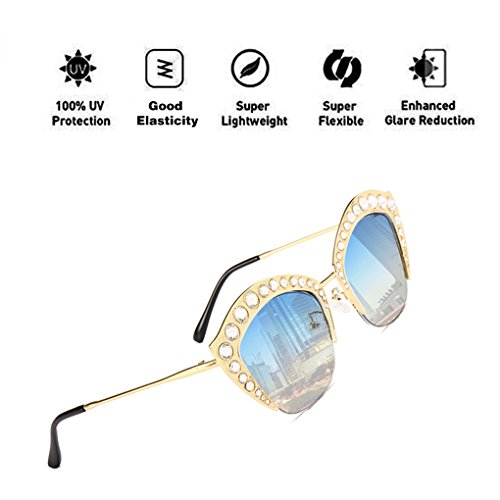hombres de protección Diamond UV400 Moda ATNKE Decoration de sol con HD Gafas Lip PC de armadura de tamaño Lente reflectante para la gran Azul Shape Mujeres Gafas 44xqzBt