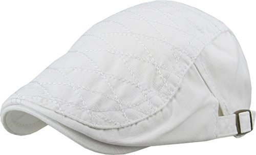 KBM-209 WHT Quilted Cotton Newsboy Ivy Cabbie Hat Cap
