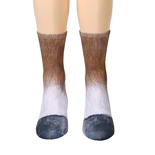 Song Qing Unisex Adult 3D Print Animal Foot Hoof Paw Print Sock Crew Socks ()