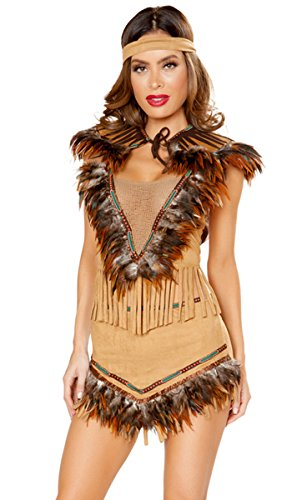 Musotica Sexy Native Indian Pocahontas Feather and Fringe Dress and Headband - Beige - M/L