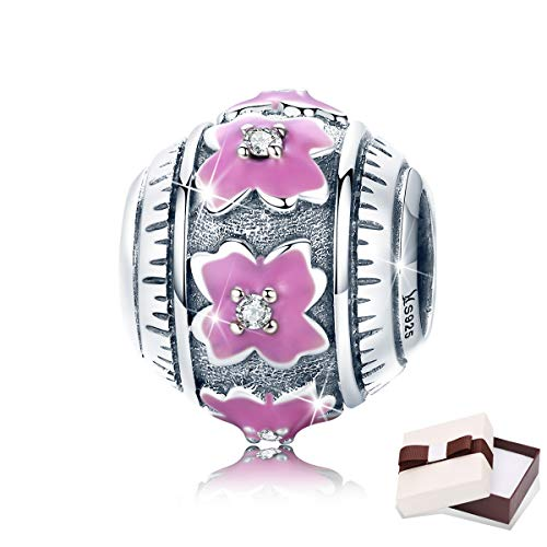 BAMOER Sterling Silver Pink Clover Flower Charm Enamel Beads with Clear CZ for European Bracelet Girl Gift
