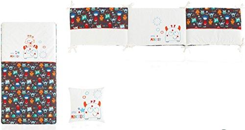 Bettdecke + Displayschutzfolie + Cojin 62x 125Monsters weiß und grau