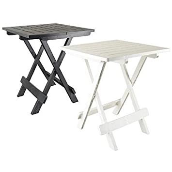 Blanc Table Appoint Pliante 50 X 45 X 43 Camping Portable Jardin