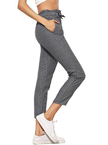 SheIn Women's Ruffle Tie Waist Pants with Pockets Small Striped Grey