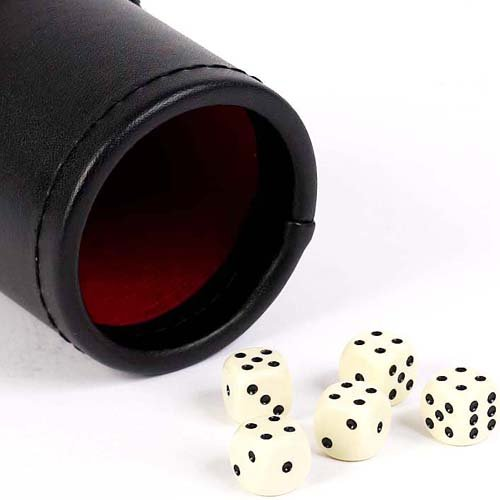 Bello Games New York, Inc. Wall Street Red & Black Leatherette Dice Cup with 5 - Leather Dice Cup Backgammon
