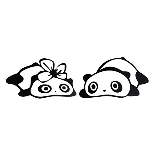hongfei Black Panda PET Sticker Cartoon Car Vehicle Wing Mirror Rearview Mirror Decal 3D Decoration ()
