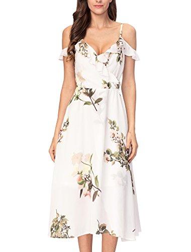 Noctflos Women's Floral Chiffon Off The Shoulder Boho Summer Midi Cocktail Party Dress (Chiffon Shoulder Dress One White)