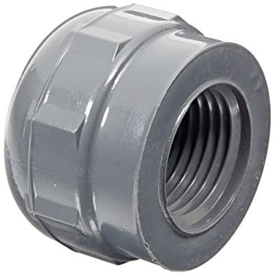 GF Piping Systems PVC Pipe Fitting, Cap, Schedule 80, Gray, NPT Female