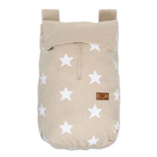 Baby's Only 914199 Spielzeugsack Laufgittertasche Sterne gestrickt, 48 x 40 cm, beige/weiß