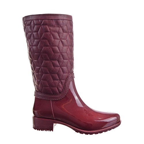 Sopily - Zapatillas de Moda Botas Botas de guma de lluvia Cavalier Rodilla mujer zapato acolchado Cremallera Talón Tacón ancho 3.5 CM - Rojo