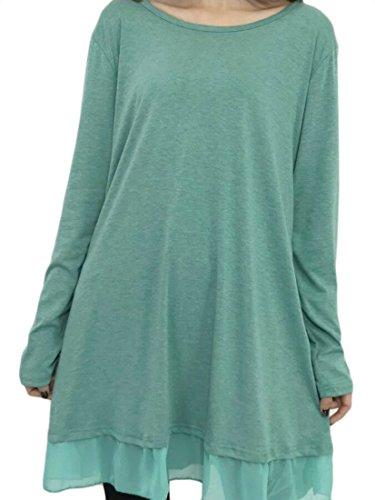 Jaycargogo Femmes Manches Longues Blouses En Couches Lâches Tunique Ajustement T-shirt Vert Robe