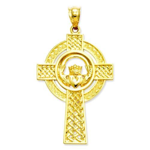 14K Yellow Gold Claddagh Celtic Cross Pendant - Cross Satin Gold