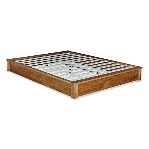(MUSEHOMEINC California Rustic Solid Wood Platform Bed Low-Profile Style with Wooden Slats Support/No Boxspring Needed,Teak Finish,Queen)