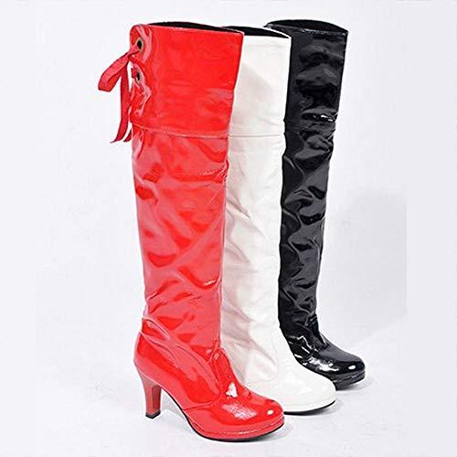La zapatos Blanco De Zapatos botas Sobre botas Invierno Señora Mujer Sueltas Tamaño Xdx Botas Rodilla Gran SR1xwqXXp