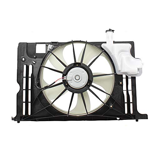 (BROCK Cooling Fan Assembly w/Radiator Coolant Overflow Tank Replacement for 14-19 Toyota Corolla 163610T041 163630T020 16711-0T131 TO3115181)
