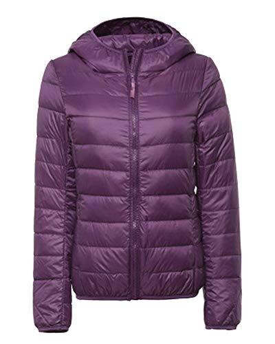 ZiXing Women's Hooded Ultra Light Packable Down Puffer Jacket Coat Quilted Lightweight Outdoor Down Parka Dark Purple