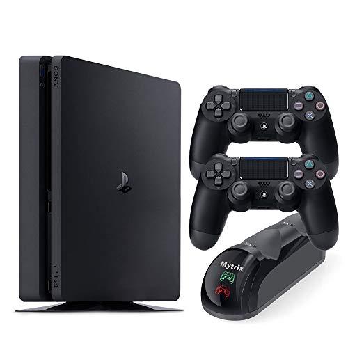 PS4 슬림 1 테라바이트 콘솔 두 DS4 무선 컨트롤러 및 MYTRIX DS4 빠른 충전 독