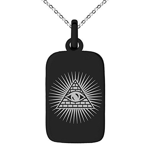 Black Stainless Steel All Seeing Eye of Providence Symbol Engraved Small Rectangle Dog Tag Charm Pendant Necklace (Tag Dog Rectangular Pendant)