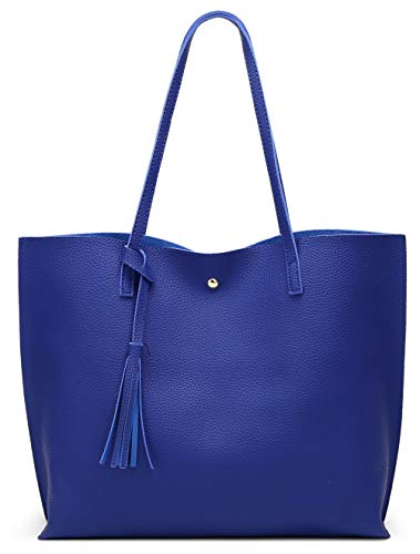 (Women's Soft Leather Tote Shoulder Bag from Dreubea, Big Capacity Tassel Handbag Royal Blue)
