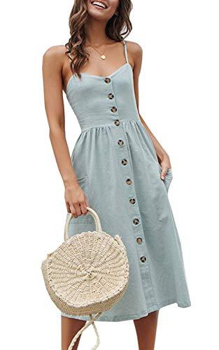 KAY SINN Summer Dresses for Women Solid Midi Dress Spaghetti Strap Button Swing Dress XX-Large 182-blue