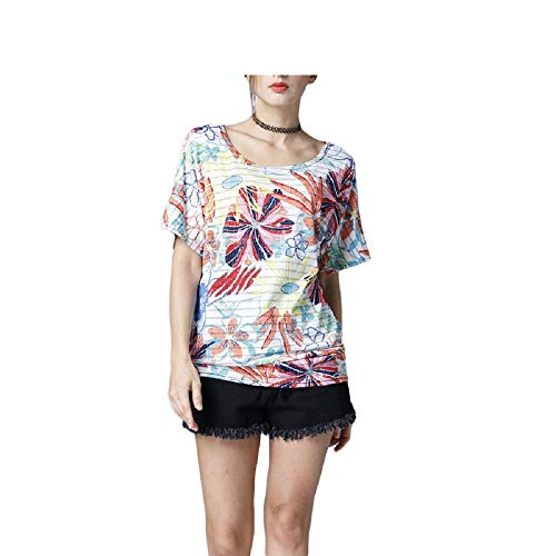 di per Stampato T Mostrato Floreale Moda Manica Donne a Camicette Colore Corta T Colletto Top Dimensione Come Come Yingsssq Camicie Shirt Shirt M Mostrato Tondo Allentata Le Camicetta wPtd7qXqn