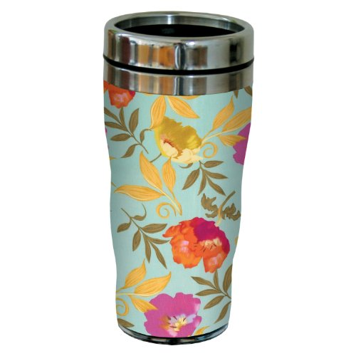 Tree-Free Greetings sg23718 Trefoil Aqua Floral by Nel Whatmore Travel Tumbler, 16-Ounce