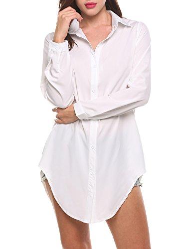 Meaneor Button Sleeve Shirts Irregular