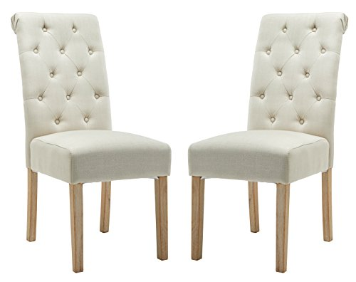 Muzii Fabric Dining Chairs Modern Elegant Armless Chairs Dining Room Chair With Solid Wood Legs Set of 2