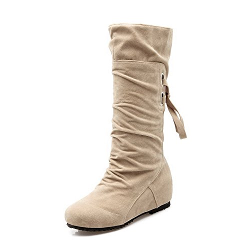 AllhqFashion Womens Frosted Round Closed Toe Solid Mid-Top Low-Heels Boots Beige tObbZ