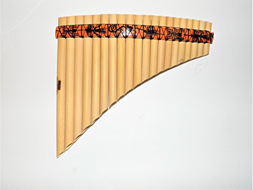 Pipe Tuned Os (Pan Flute Musical Instrument 20 Pipes Tunable Tuned G Major - Nazca Lines Design -Natural Bamboo From Peru)