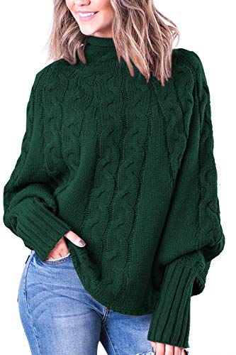 Neck Dolman Sleeve Oversized Pullover Knit Sweater Green XL ()