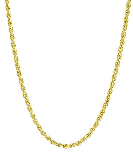 18K Yellow Gold 1.5MM Diamond Cut Rope Chain Necklace - Made in Italy -16