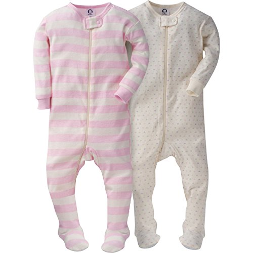 Baby Girl Footed Sleeper - Gerber Girls' 2 Pack Footed Sleeper, Tiny Hearts/Stripes, 9 Months