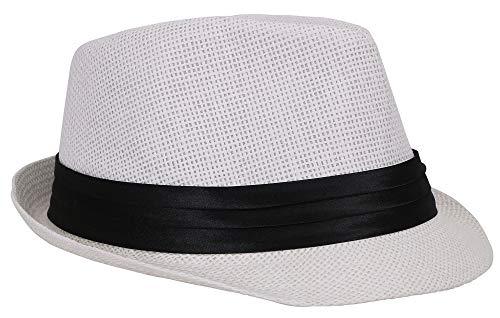 (Verabella Beach Fedora Women/Men's Short Brim Straw Fedora Sun Hat,White,LXL)