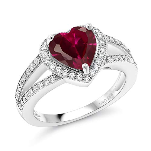 Gem Stone King 2.41 Ct Heart Shape Red Created Ruby 925 Sterling Silver Ring (Size 9)
