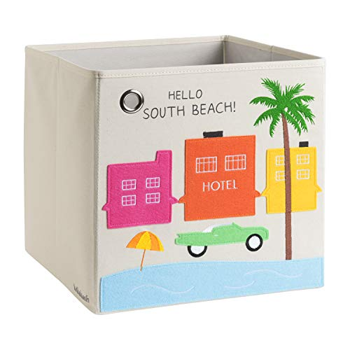 kaikai & ash Storage Bin, Canvas Fabric Toy Box Cube, Kids - South Beach