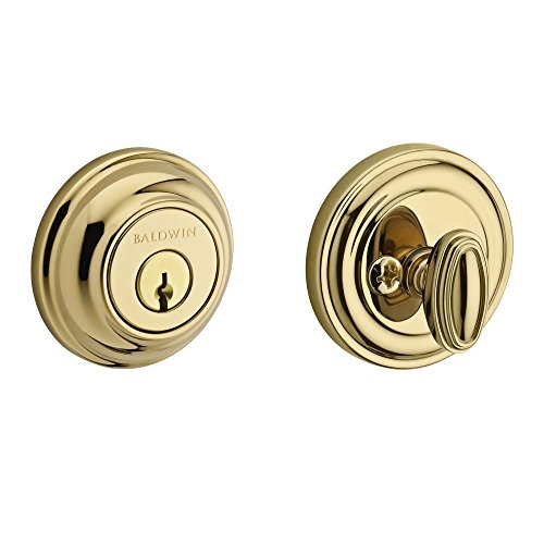 Baldwin SC.TRD.003.6L.DS.CKY.KD Traditional Round Single Cylinder Deadbolt, Polished (Profile Polished Brass)